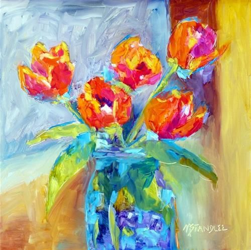 "Texas Tulips 13050 -12x12"" Ampersand Gessobord panel, painted May 9, 2013 pink and orange tulips Original Fine Art for Sale - © Nancy Standlee"