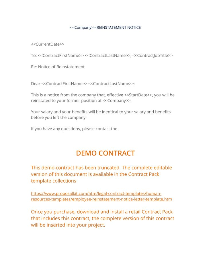 Employee Reinstatement Notice Letter  Use The Employee