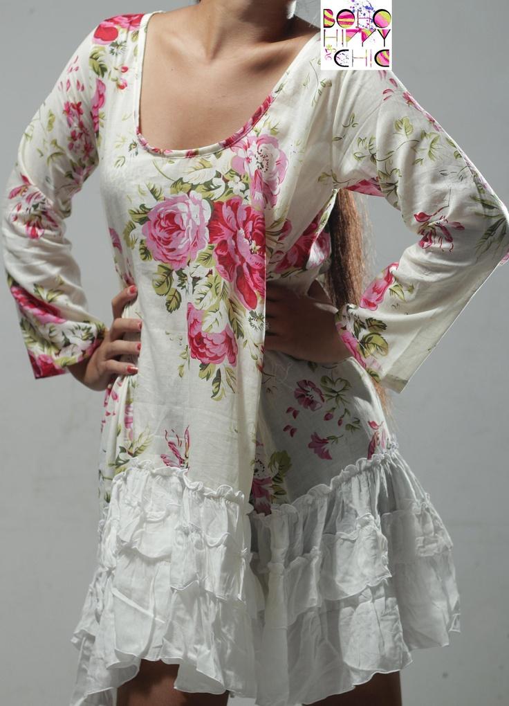 Ladies Vintage Roses Baby Doll Dress Not Shabby So Chic & Boho Frill Hem Cotton Voile S M L via Etsy.