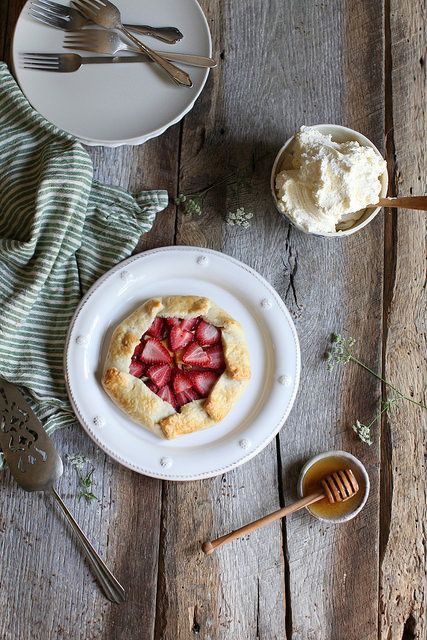 strawberry + peach galette with honey whipped cream