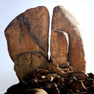 The Rock at Horeb  that Moses struck twice. Located in Saudi Arabia  Wish I'd known this when I lived in Jeddah.