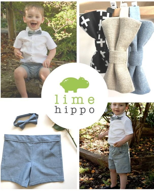 Custom made bow tie and shorts sets -- ideal for weddings, birthdays and other special occasions. Lime Hippo creates dapper, stylish and downright cool clothing for children. Use the code PINTEREST for 10% off in our shop.