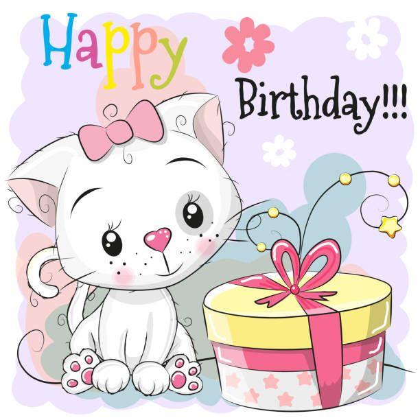 Greeting Birthday Card Cute Cartoon White Kitten With Gift Happy Birthday Art Happy Birthday Cards Birthday Cards