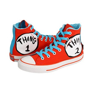 """Buy a pair of plain red shoes and you could paint the """"Thing 1 & 2"""" circle on it. Buy yourself some blue shoe laces and you're done!"""