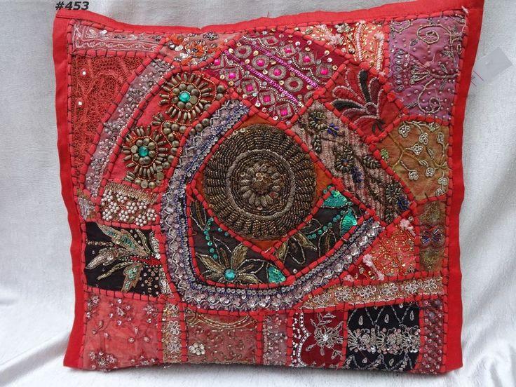 forro para cojin 41cm x 41cm de importación de la India , entrega 20 a 25 dias. Para detalles y cotización: norlu333@hotmail.com - Ideas para #decoración #Colombia.Red cushion cover pillow case fabric patch beads zari embroidery Indian