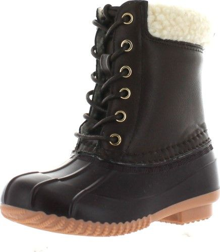 Link Kyla-3K Children Girl's Fashion Snow Mid Calf Waterproof Lace Up Duck Boots,Brown,3, Size: 3 M US Little Kid