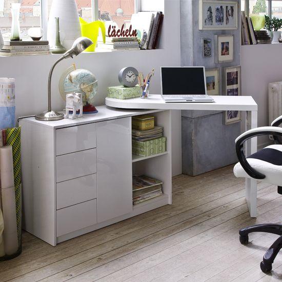 Matt Swivelling Computer Desk in High Gloss White. 16 best Desks images on Pinterest   Office furniture  Computer