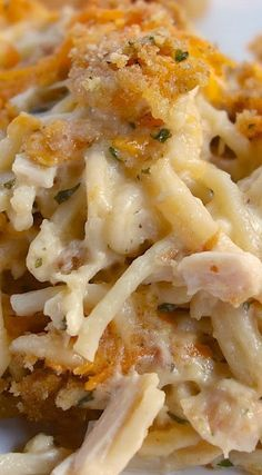 Cheesy Chicken Spaghetti Casserole. This looks like comfort food perfection! Best dinner idea!