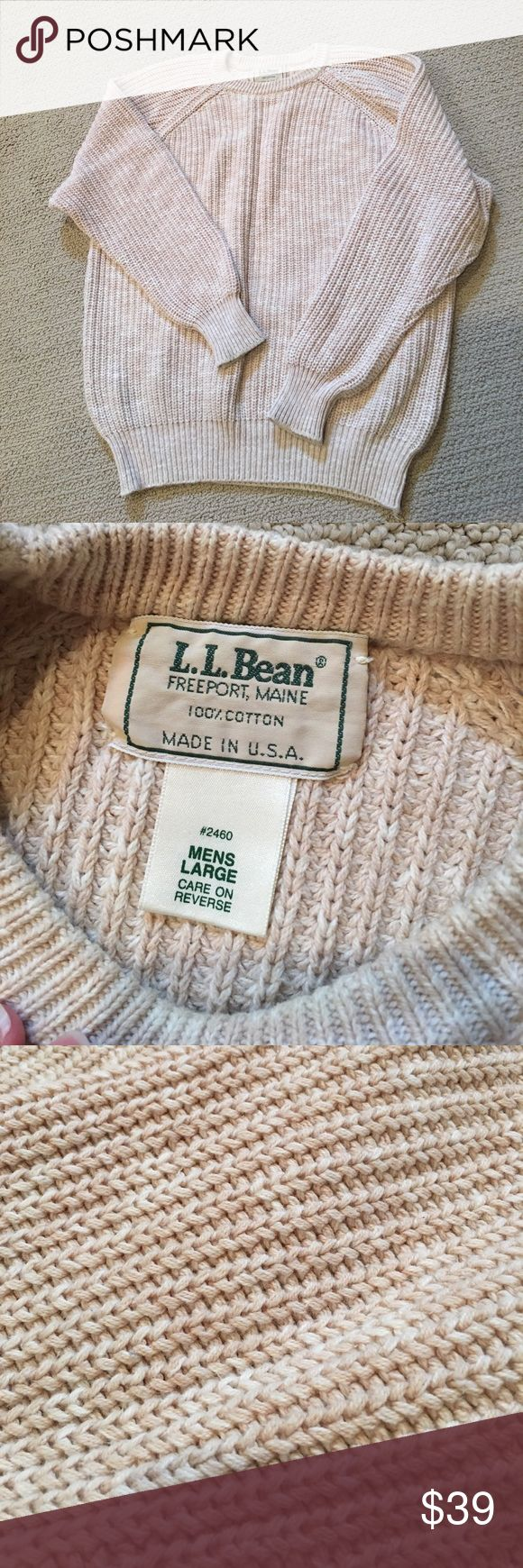 LL Bean Sweater Beige Mens Knit Sweater Sz Large LL Bean men's knit sweater. Size large. Chest measures 48 inches. Length on the sweater is 26 inches. Arms measure approximately 24 inches. 100% cotton. L L Bean Sweaters Crewneck