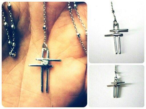 Ciondolo-Silver Cross&Brilliant Stone #createdbyme
