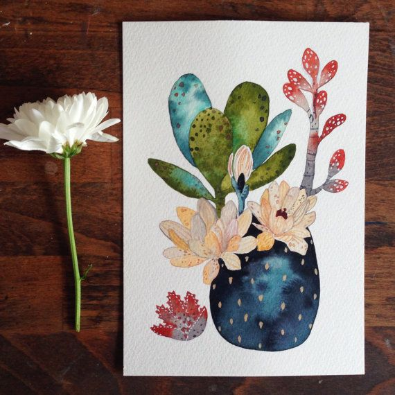 Cactus Succulent Painting Watercolor Art Archival Art by RiverLuna