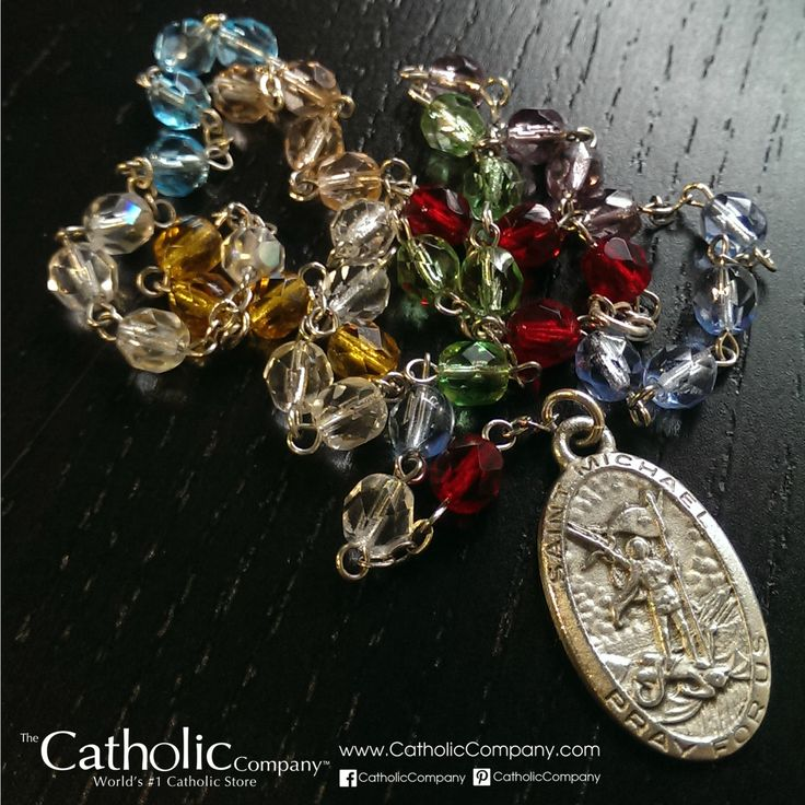 "Troy from Daytona reviews our St. Michael Chaplet:    ""Love St Michael, luv the Chaplet. After a couple years of using this St Michael chaplet it still looks brand new and I luv the quality and beauty. Simply a must have and I am highly satisfied, thanks Catholic Company.""    [The 9 different bead colors represent the 9 choirs of angels: Seraphim, Cherubim, Thrones, Dominions, Powers, Virtues, Principalities, Archangels, Angels"