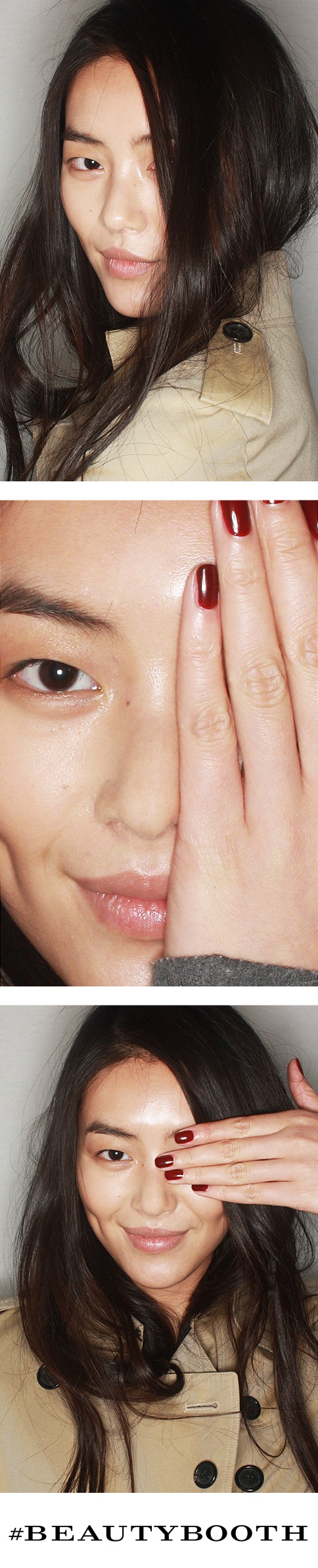 Liu Wen wearing the Trench Kiss runway look in the #BeautyBooth backstage at the Burberry Prorsum Autumn/Winter 2013 show