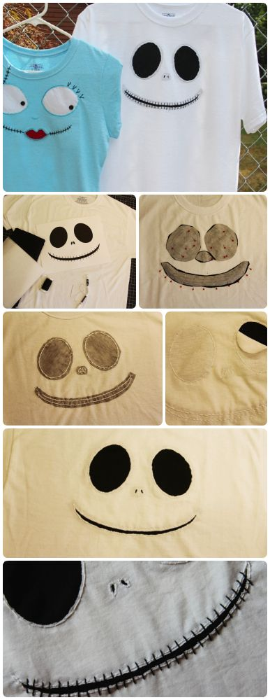See how to make these Jack Skellington  Sally t-shirts with step-by-step visual instructions  pattern print outs: http://blog.undercovertourist.com/2013/09/disney-craft-jack-skellington-sally-t-shirts-in-time-for-mickeys-not-so-scary-halloween-party/ #DIY #Disney