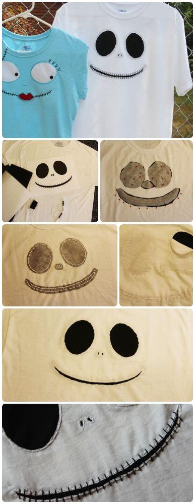 Camisetas de Jack Skellington & Sally. http://blog.undercovertourist.com/2013/09/disney-craft-jack-skellington-sally-t-shirts-in-time-for-mickeys-not-so-scary-halloween-party/