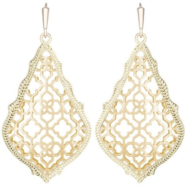 Kendra Scott Addie Earrings ($64) ❤ liked on Polyvore featuring jewelry, earrings, gold, yellow gold jewelry, kendra scott earrings, gold jewellery, filigree jewelry and drop earrings