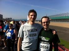 Gary and Phil before the silverstone half marathon, in aid of RNIB