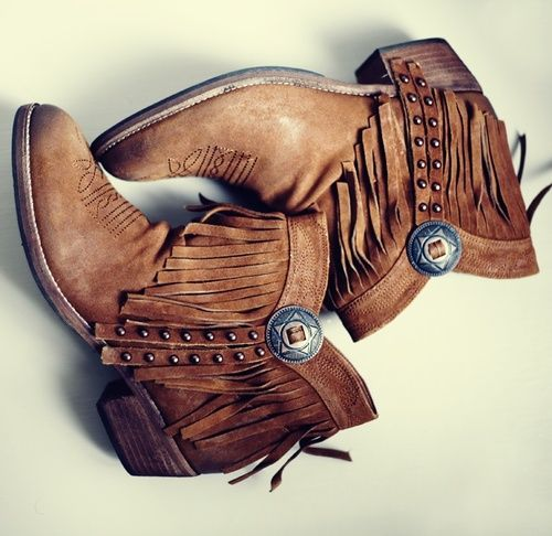 ☮ American Hippie Bohemian Style ~ Boho Fringe Ankle Boots! ❤️