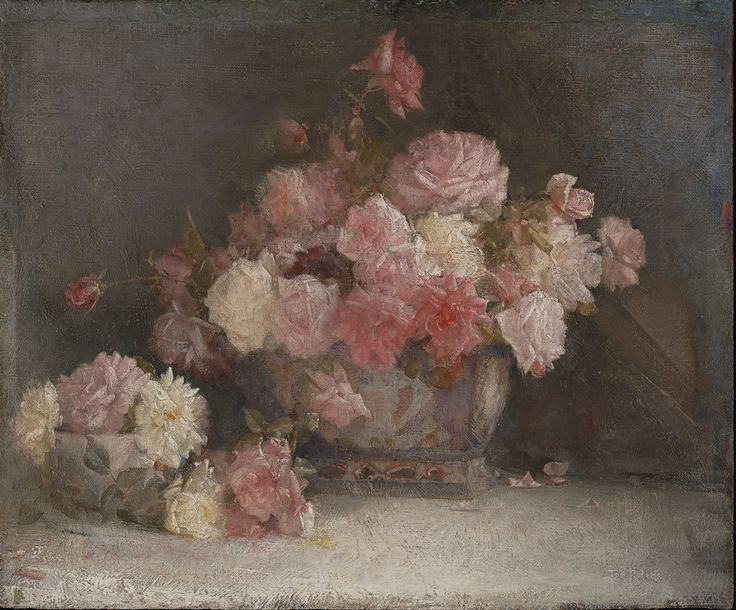 "Tom Roberts  United Kingdom, Australia  b. 08 Mar 1856  d.14 Sep 1931  Roses 1911 oil on canvas on hardboard 51 x 61 cm Signed and dated l.r. corner, white and blue oil ""Tom Roberts 11"" Art Gallery of NSW Collection 