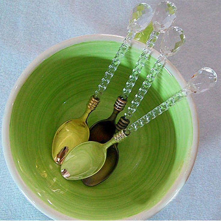 Crystal Handle Tea Coffee Spoon Ice Cream Spoon Dessert Ladle Scoop for home/bar