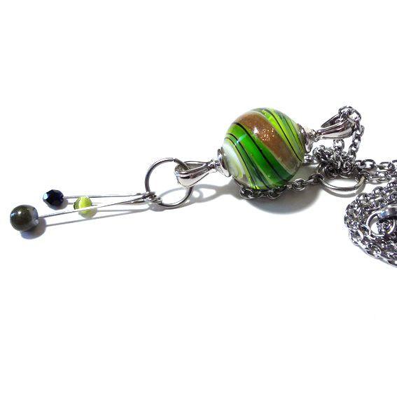 sautoir vert filé vert