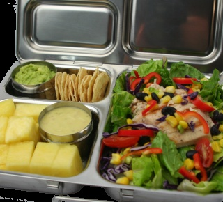 Healthy lunches are easy to pack in this steel lunch box. For more information: www.PlanetBox.com