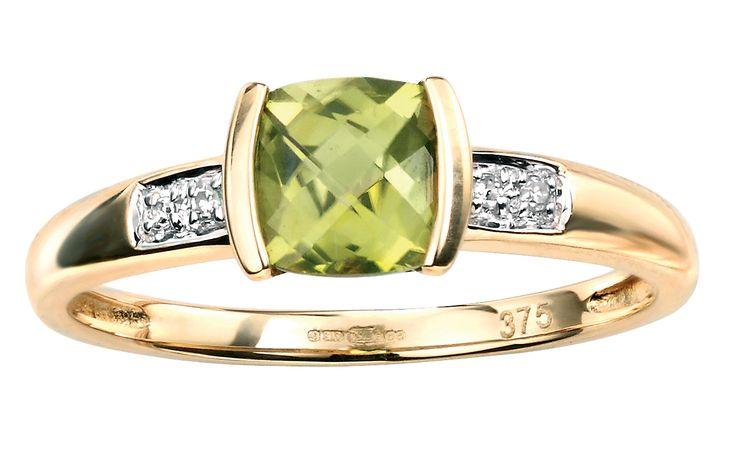 Peridot & Diamond Ring. 9CT