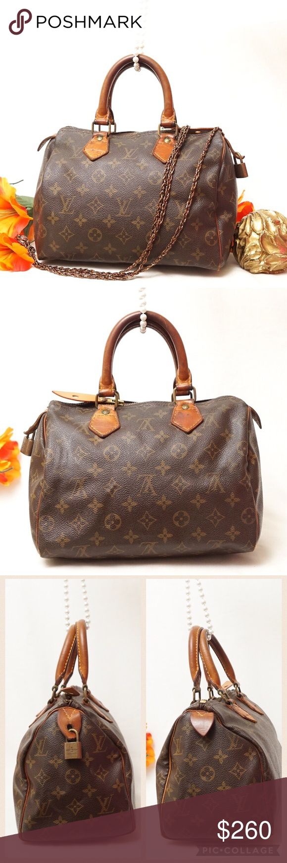 """AUTH LOUIS VUITTON SPEEDY 25 SATCHEL VINTAGE BAG Adorable beautiful LV style. Preloved in good used vintage condition. Exterior leather is in good condition only has a few cracks around the zipper. Zipper cannot close completely as pictured. Handles, corners and inside shows some wear. Still has lots of life. This will be one of the best item your vintage collection will have. Size 10,5""""x7""""x6"""". Serial Code F0 893. AUTHENTIC❣️PATENT LEATHER ❣️FAST SHIPPING!  My items sell fast. Get them…"""