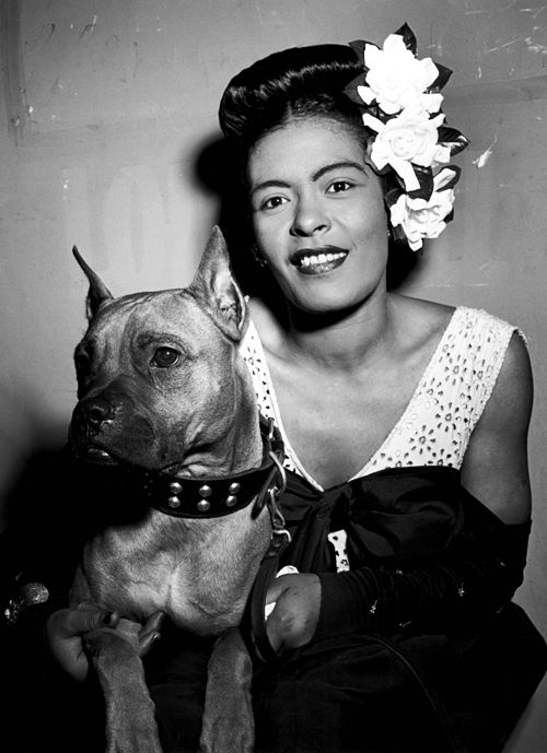 Billie Holiday with her pit bull terrier Mister, ca.1947. Miss my pittie Tess! She was the best dog ever.