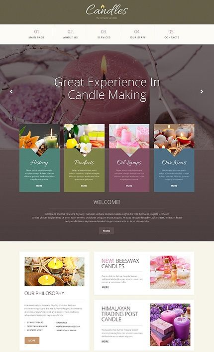 Template 49212 - Handmade Candles Responsive Bootstrap Website Template