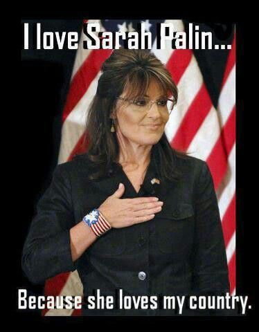 I love Sarah Palin BECAUSE SHE LOVES MY COUNTRY !!!  Yes the same lady who deface the flag by writing on it  way to go!!!