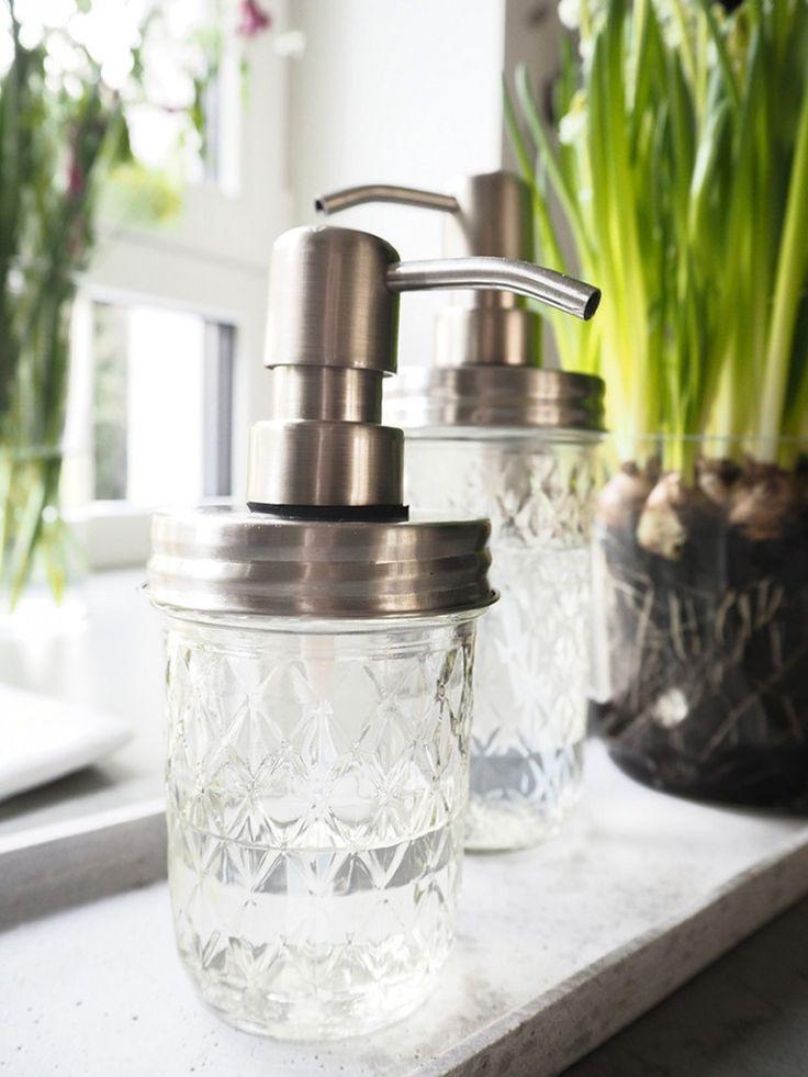 Mason Jar Quilted Glas mit Seifenspenderdeckel von