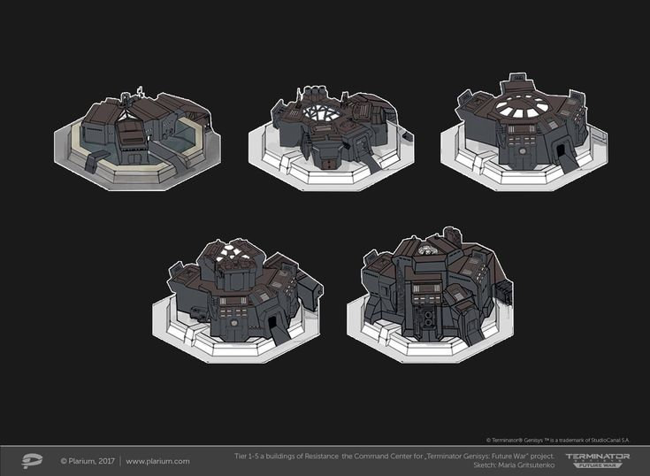 "ArtStation - Tiers 1-5 a buildings of Resistance the Command Centre for ""Terminator Genesis: Future War"" project, Maria Gritsutenko"