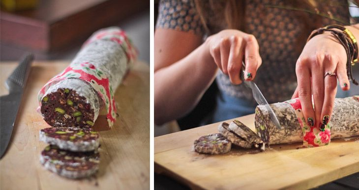 Chocolate salami: recipe from Crumbs Magazine