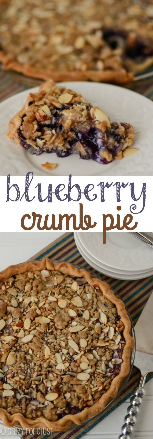 Blueberry Crumb Pie with a juicy blueberry filling and an almond crumble top