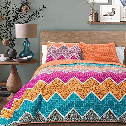 Lush Decor 3 Piece Everlyn Chevron Quilt Set, King, Tange...