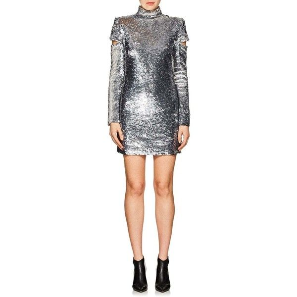 cb15ea70d08c Helmut Lang Women's Disco Sequined Minidress (€1.225) ❤ liked on Polyvore  featuring dresses, slvr, white sequined dresses, short white cocktail  dresses, ...