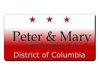 Washington D.C. USA - Kennzeichen mit Wunschtext bedruckt - Hausnummern und Schilder online kaufen