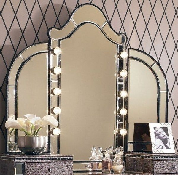 Makeup tri fold mirror with lights vanity table ideas bedroom furniture ideas