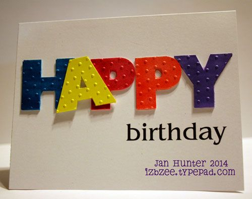 Sharpies - bright colors are perfect for this birthday card.  eCal, eclips used to cut the letters. http://izbzee.typepad.com