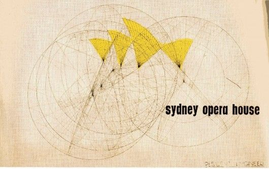Original Competition Entry Cover Image - Sydney Opera House. Image © Jørn Utzon / Courtesy of Bibliodyssey