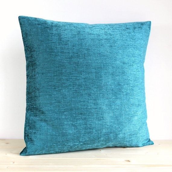 Teal Cushion Cover 16 Inch Plain Pillow Cover Solid by CoupleHome, $14.50