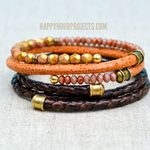 Make these easy DIY leather bangles using memory wire and glue in 10 minutes or less. Mix it up with beads and charms for a look that's all your own!