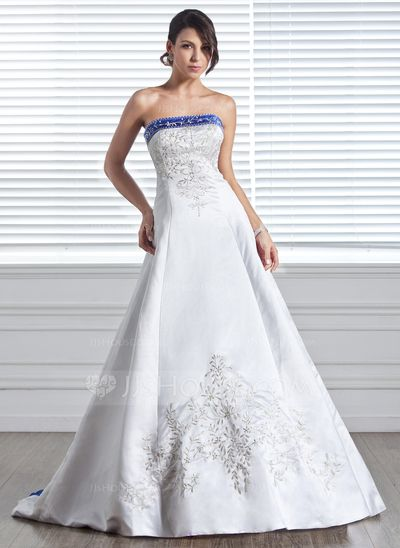 Wedding Dresses - $232.99 - A-Line/Princess Strapless Court Train Satin Wedding Dress With Embroidery Sash Beadwork (002005281) http://jjshouse.com/A-Line-Princess-Strapless-Court-Train-Satin-Wedding-Dress-With-Embroidery-Sash-Beadwork-002005281-g5281