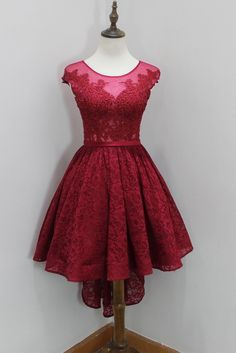 Lovely Wine Red Lace High Low Round Neckline Prom Dresses, Burgundy Homecoming Dresses, High Low Formal Dresses