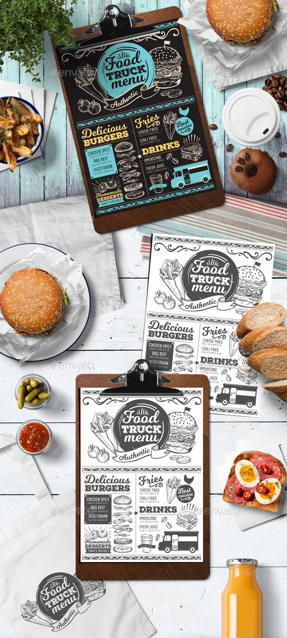 Food Truck Menu — Photoshop PSD #doodle #menu • Available here ➝ https://graphicriver.net/item/food-truck-menu/20946332?ref=pxcr