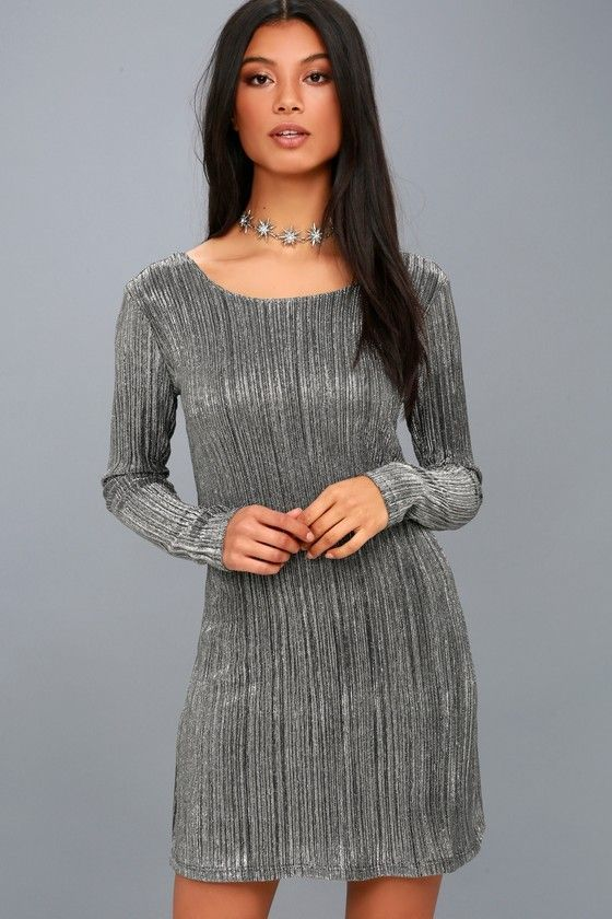 Shine Bright Black and Silver Long Sleeve Bodycon Dress  bodycondresscasual   cdf2196cfd