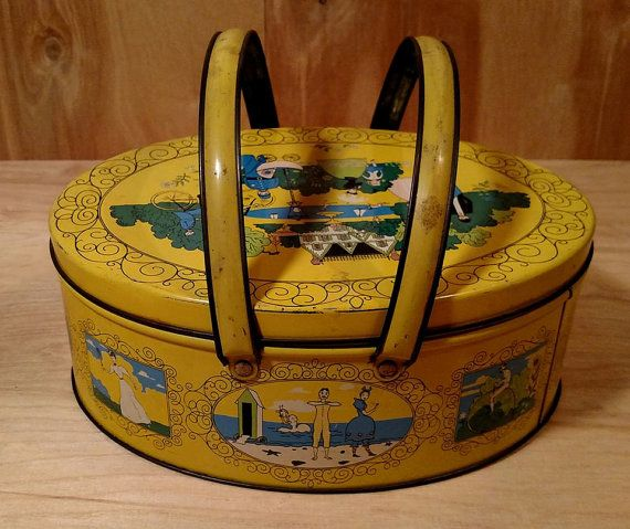 Vintage Metal Picnic Basket Lunch Box Sewing Kit in Yellow Victorian ...