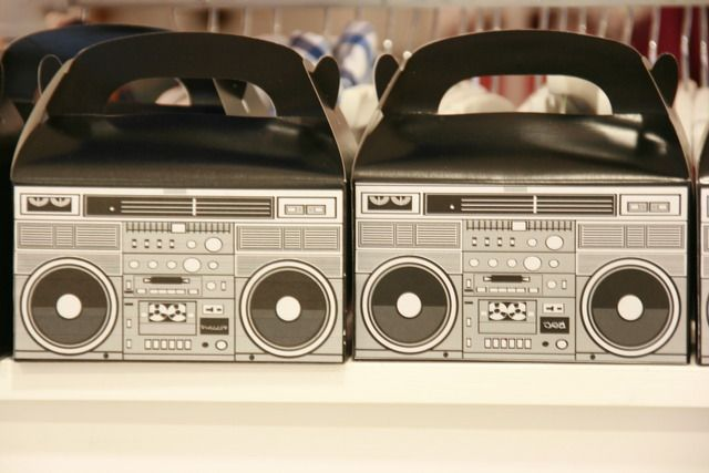 hip hop party ideas | Custom Boom Box favor boxes I created for my son's birthday.