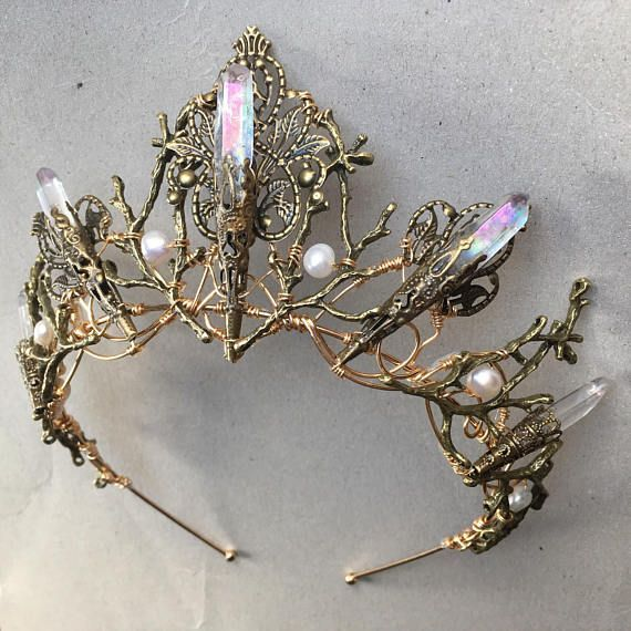 A magical handcrafted branch and filigree crown tiara with Angel Aura Quartz